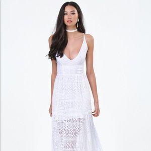 Bebe white lace maxi dress
